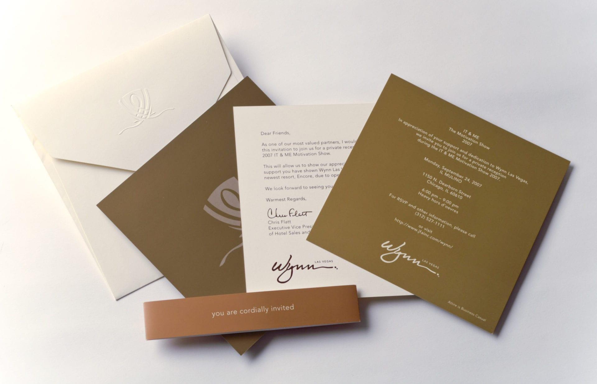 A printed invitation set for the Wynn Las Vegas
