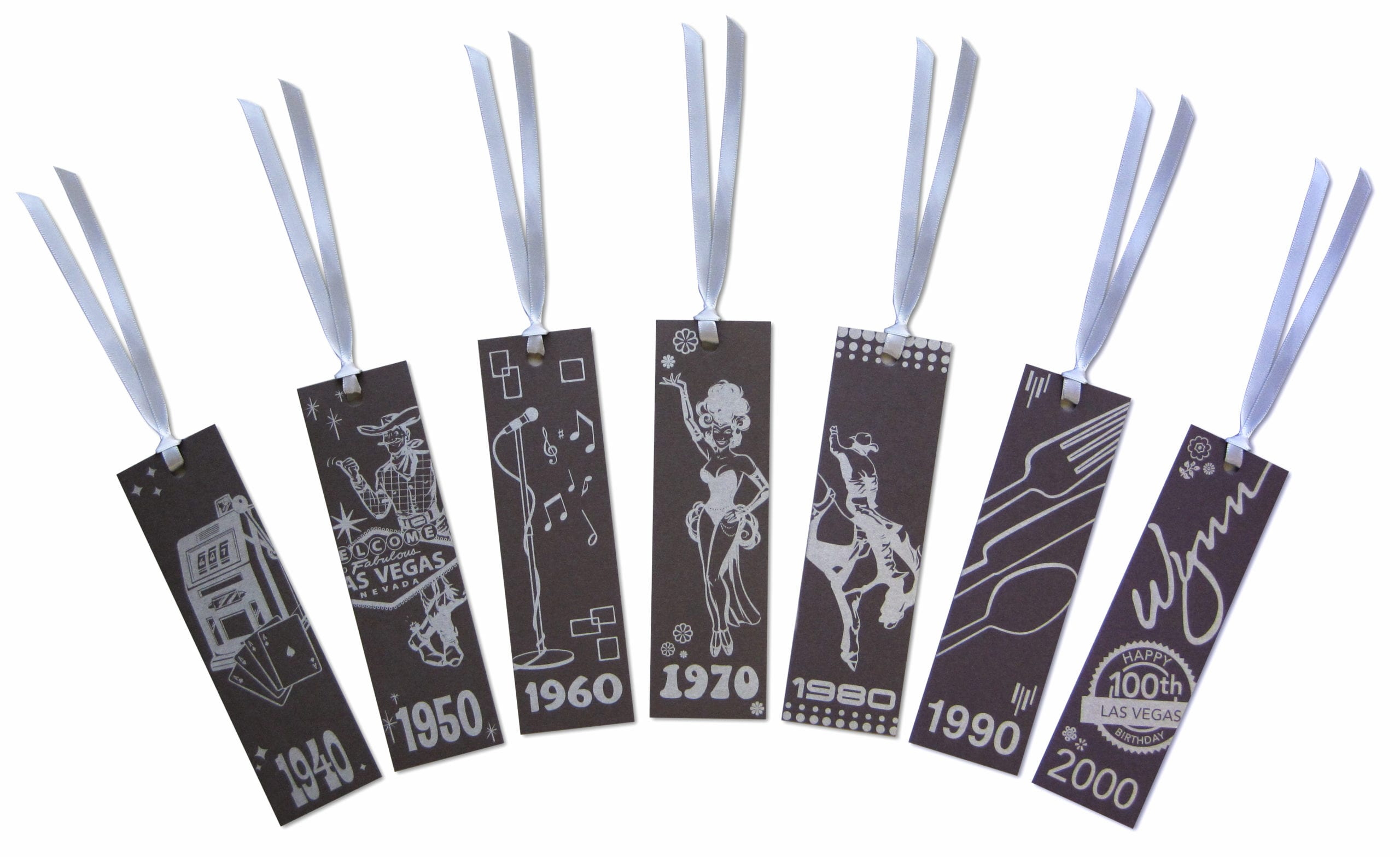 A group of tags with each decade year and a illustration of Las Vegas of the time