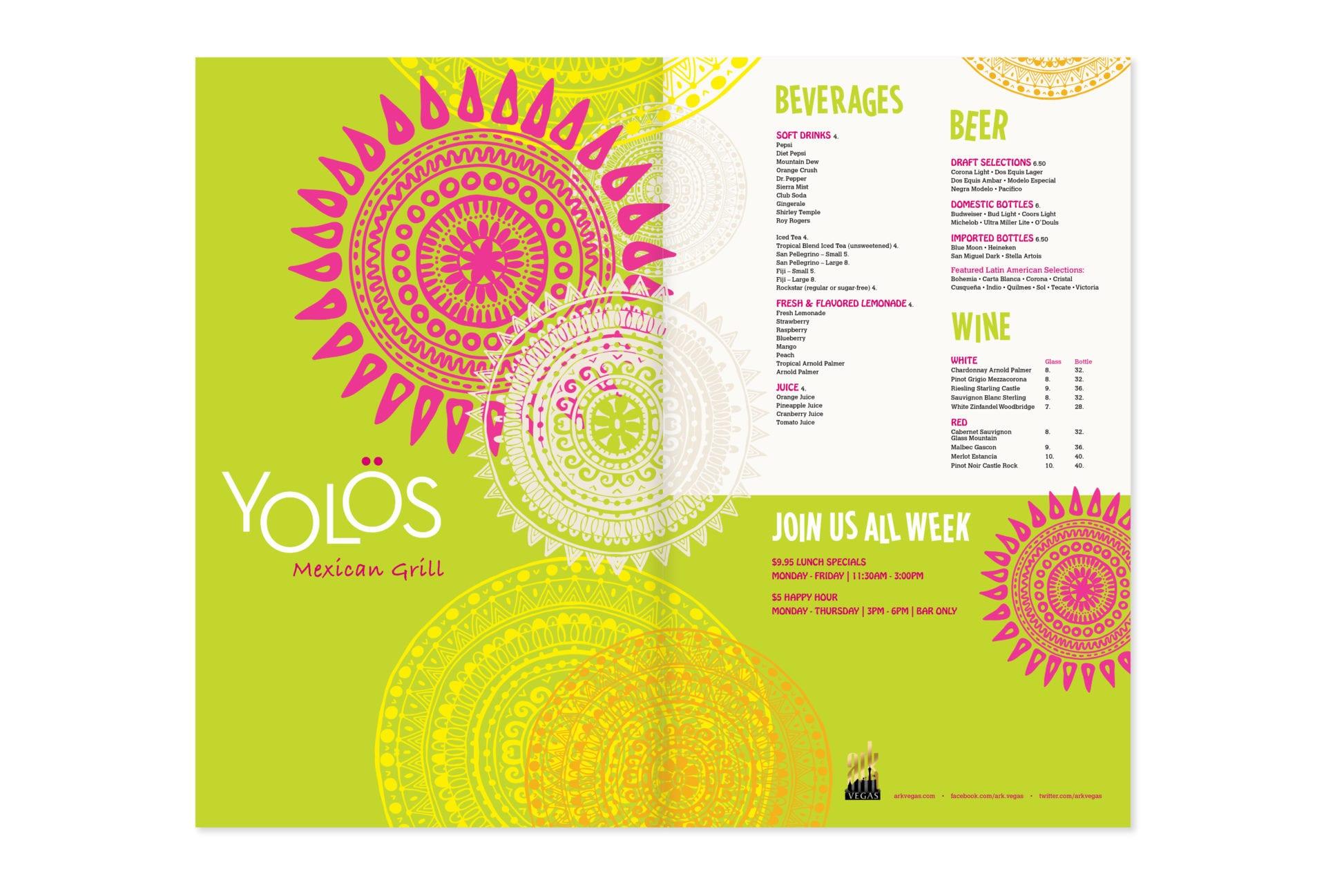 Yolos Mexican Grill menu design, cover