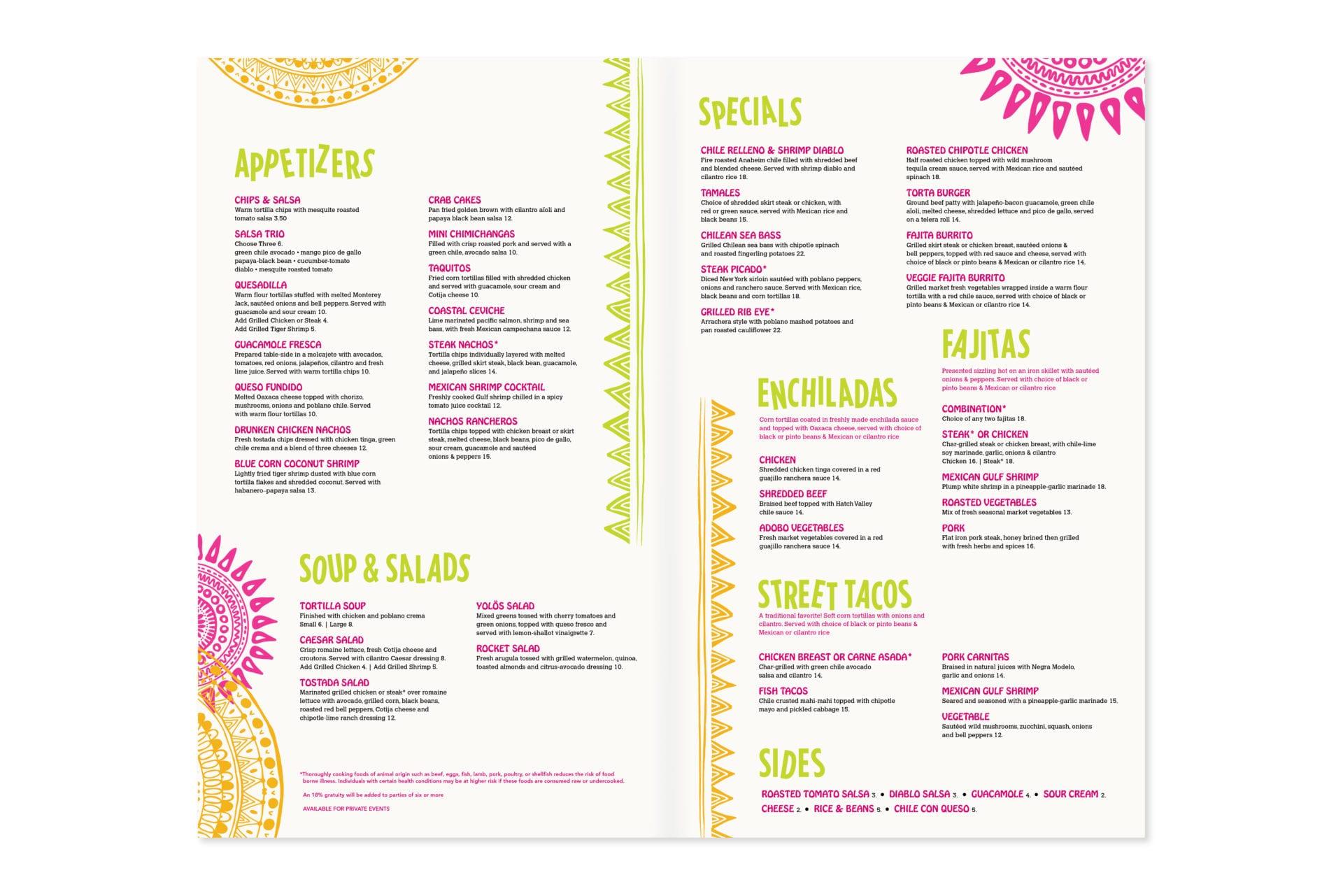 Yolos Mexican Grill menu design, inside