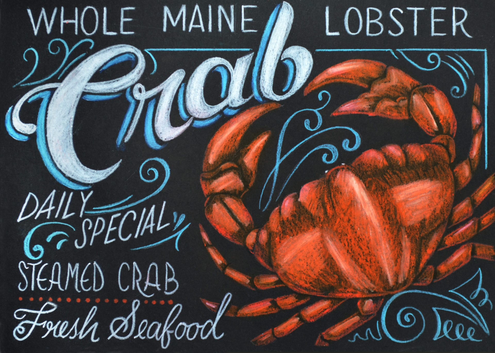 Seafood Shack chalk graphics designed for Carnival Cruise Line