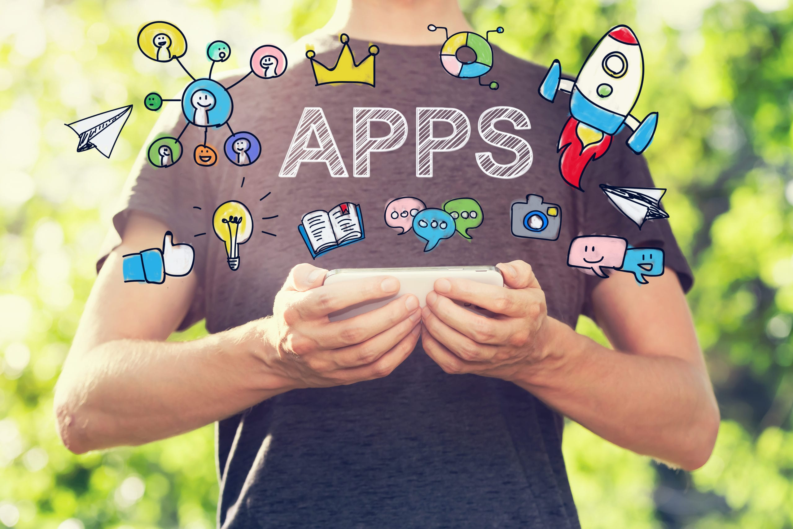 A man with app logos floating around him, these are our top 20 apps