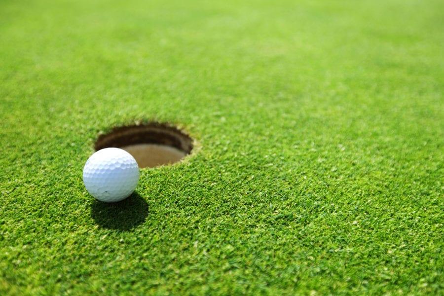 A golf ball next to a hole.